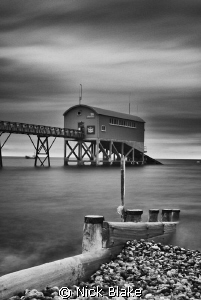 View to Selsey Lifeboat Station from the shore.